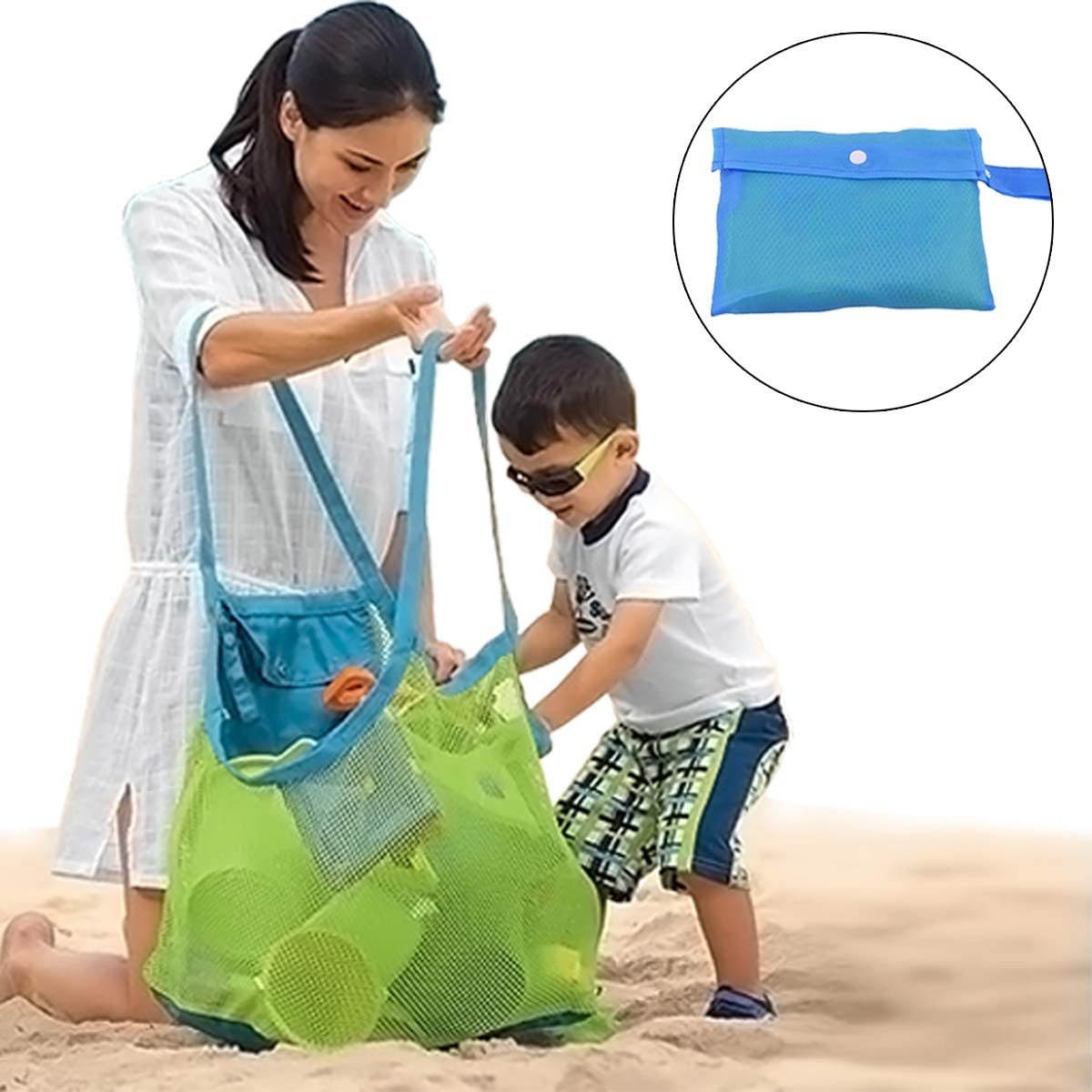 Zoiibuy Bolsa de Playa de Malla, Plegable Bolsa De Almacenaje para Juguetes De Playa De Ninos