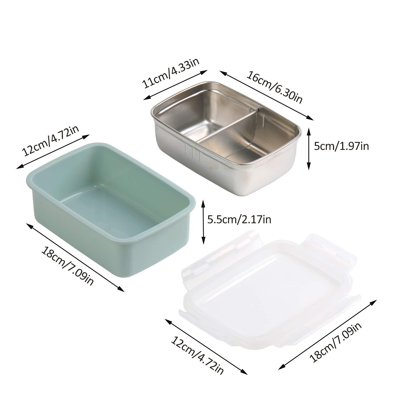 Duradero Saludable Y Apto para Adultos Y Ni/ños Apto para Microondas Y Lavavajillas 900 ml 2 Compartimentos 2 Capas KATELUO Fambrera Lunch Box Acero Inoxidable Fiambrera