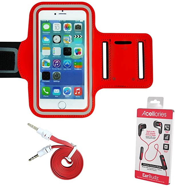 detailed look 99ce9 7bbde Amazon.com: Red Armband Exercise Workout Case with Keyholder for ...