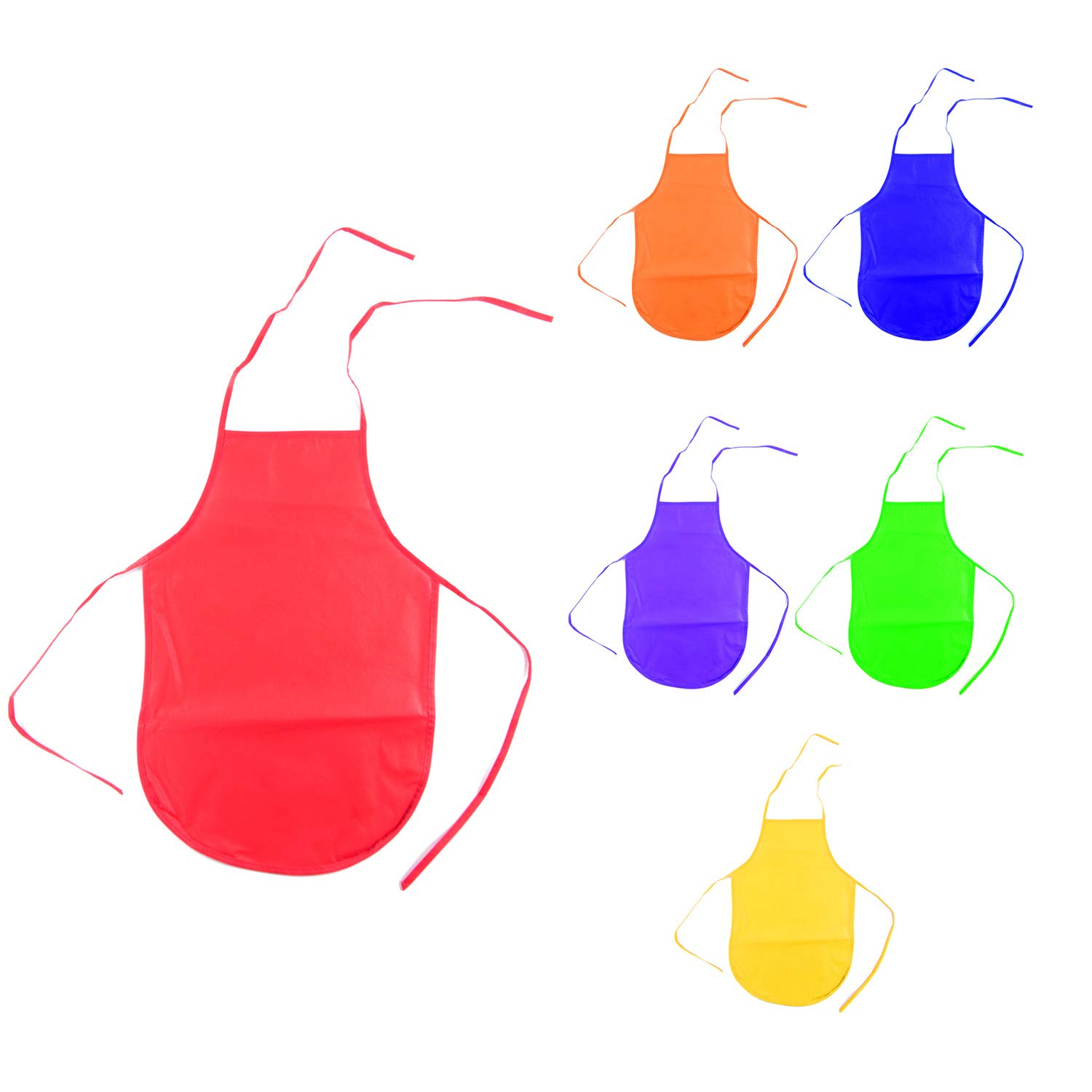 Children's Artists Fabric Aprons - Kitchen, Classroom, Community Event, Crafts & Art Painting Activity. Safe Clean 12 Pack Assorted Colors by Super Z Outlet® Super Z Outlet??