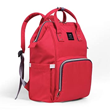 3b26c156f9d9 Diaper Bag Backpack for Mom Baby Care, Multi-Functional Baby Nappy Changing  Bag with Insulated Pockets, Waterproof Fabric, Large Capacity,Red