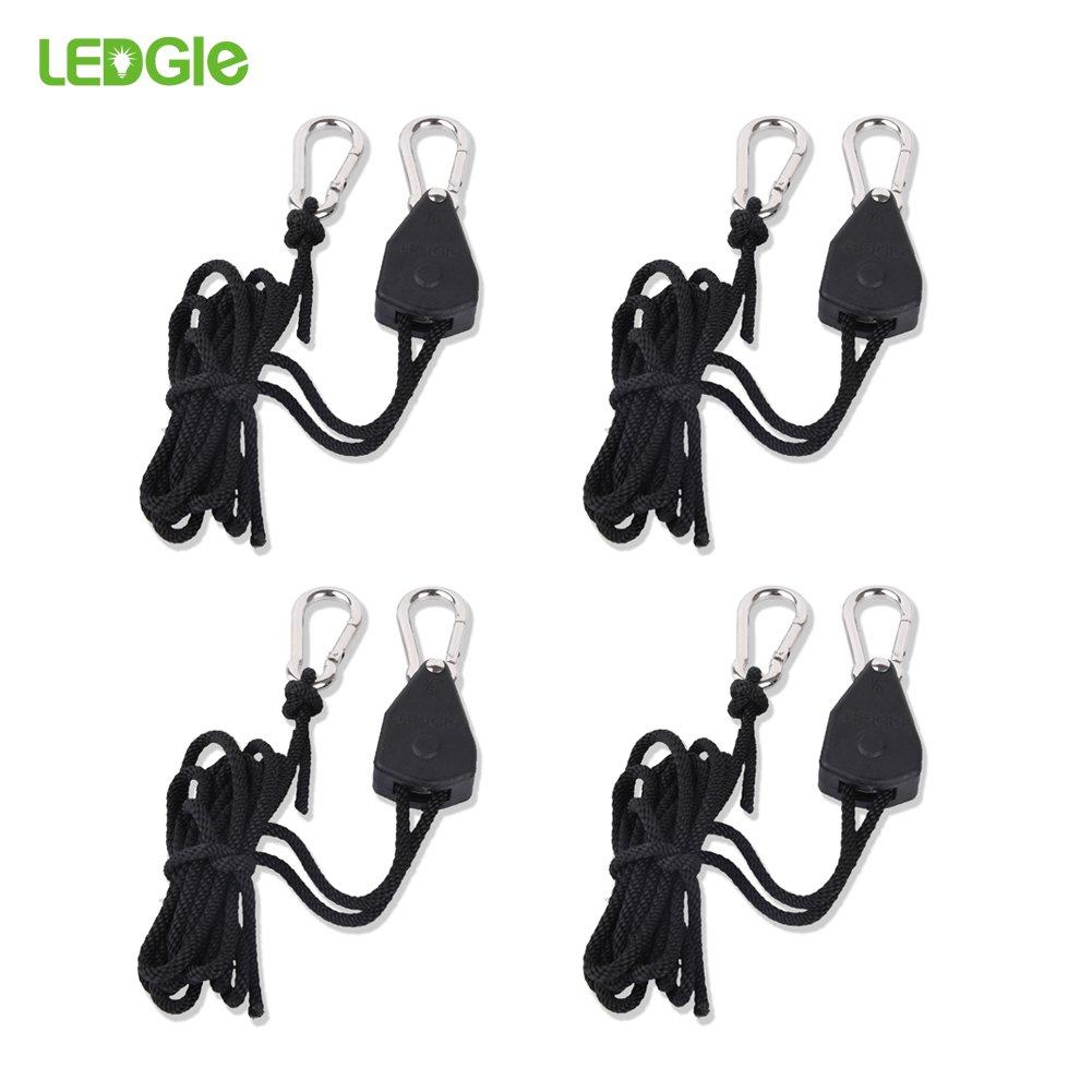 "Ledgle 1/8"" Adjustable Grow Light Rope Hanger w/ Improved Metal Internal Gears,6 Feet Long,150 LB Capacity,Fully Locking Tear&Rust Resistant Hanger for Grow Light, 2 Pack"