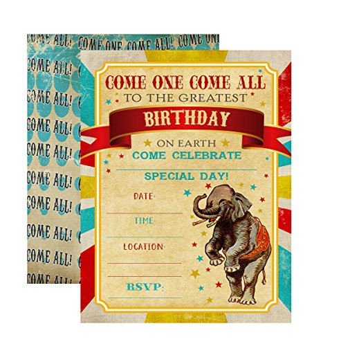 Silly Goose Gifts Retro Circus Themed Party Supply Supplies Invite Decor Birthday Carnival Food Signs (Invitation)