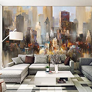 HUANGYAHUI Wandbilder Abstrakte Stadt, Retro Bar, Tapeten, Fresko,  Wohnzimmer, Büro,