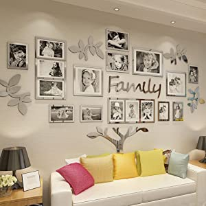 Vaabee Family Tree Wall Decor Acrylic 3D DIY Mirror Stickers Collage Picture Frame Home Decorations for Living Room Bedroom Farm House Dinning Kitchen Office Silver Set Large 71x45 Inch