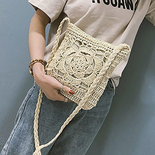 Bags Vintage Beige Beige Bag Women Summer Braid Crochet Messenger Shoulder YouN Girls qpOXTw0U