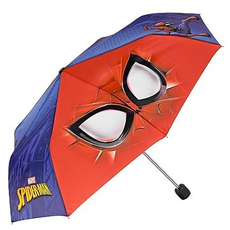Paraguas Plegable para Niño Marvel Spiderman - Mini Paraguas con Estampado El Hombre Araña - Ligero Compacto y Antiviento - Rojo y Azul - 7+ Años - 91 ...