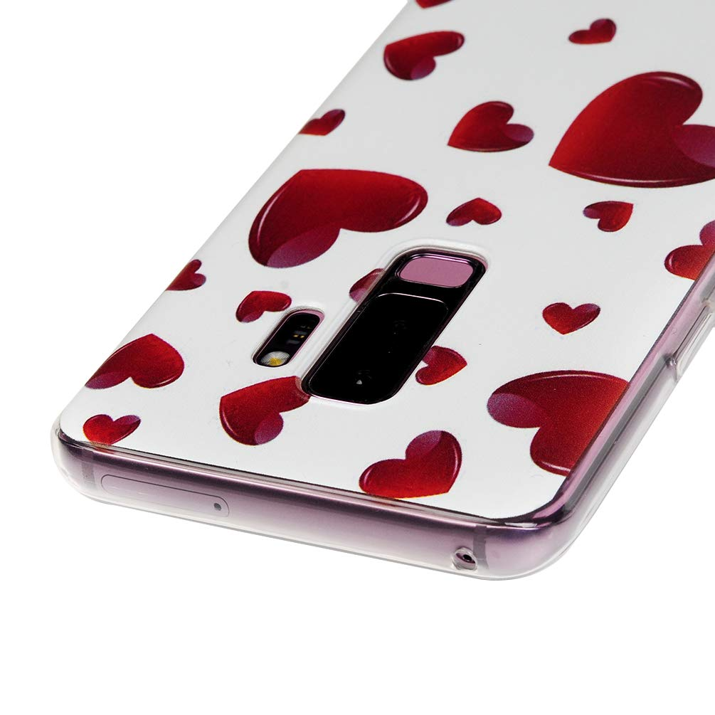 Galaxy S9 Plus Case, S9 Plus Cover Ultra Slim HD Clear & Full TPU Soft Shockproof Drop Pretective Skin Shell for Samsung Galaxy S9 Plus 2018 Version, Red Heart by SUPWALL (Image #6)