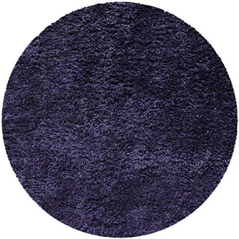 Superior Textured Shag Round Rug, Navy Blue, 6 6