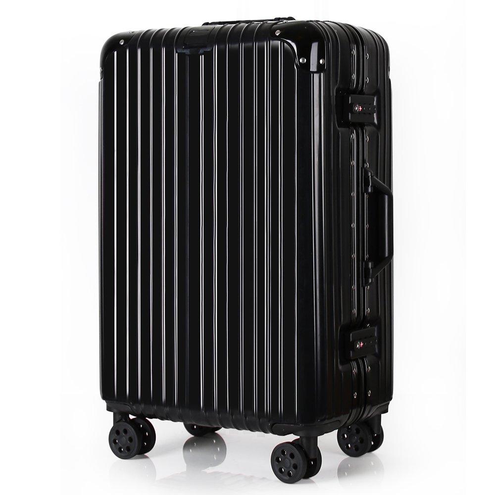 Travel Luggage Aluminum Light Weight Hardshell 360 Roller Suitcase TSA Locks Business International Trips (Black, 24inch)