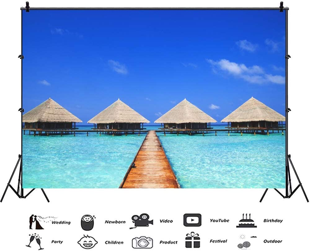 Vinyl 12x8ft Maldives Dock Backdrop Clear Sea Water Blue Sky Backgrouds for Photography Summer Holiday Coastal Vacation Fiesta Party Banner Children Adult Photobooth Props