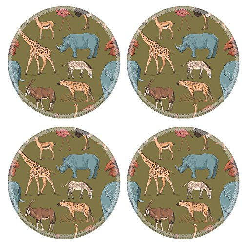Ostrich Pattern Camel (Luxlady Natural Rubber Round Coasters Image ID: 44082023 Seamless animal planet pattern with giraffe lioness hyena orangutan parrot rhino zebra deer lemur ostrich anteater)