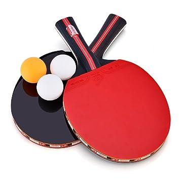 dd4f77e27 2Pcs Raquetas de Tenis de Mesa con 3 Pelotas y Bolsillo de Funda   Amazon.es  Deportes y aire libre