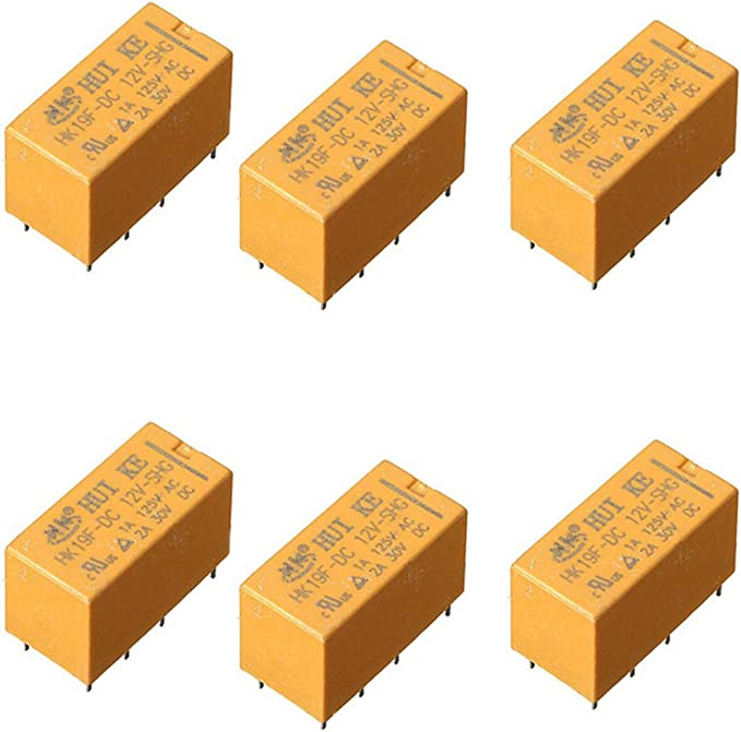 Anfukone 6Pcs HK19F-DC24V-SHG Coil Volt PCB Type Electronic Power Relay