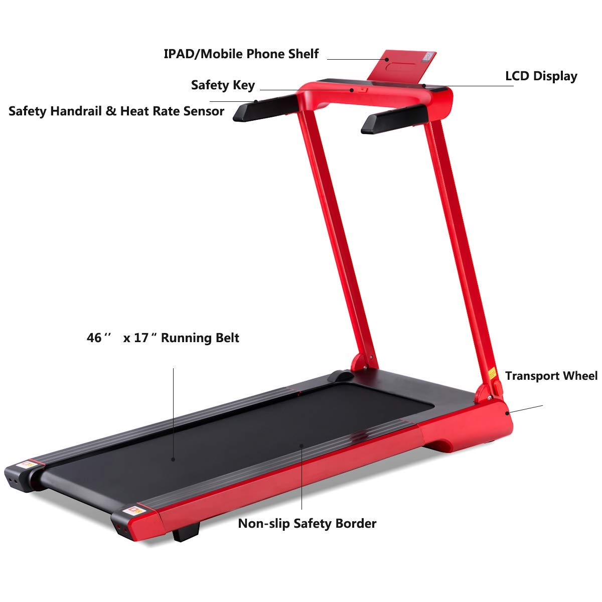 Goplus 2.25 HP Folding Treadmill Electric Cardio Fitness Jogging Running Machine Portable Motorized Power Slim Treadmill with Sports App and LED Display (Red) by Goplus (Image #5)