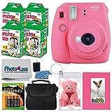 Fujifilm instax mini 9 Instant Film Camera (Flamingo Pink) + Fujifilm Instax Mini Instant Film (80 Shots) + Selfie Album + Compact Case + Photo Keychain + 4 AA Batteries – Valued Accessory Kit