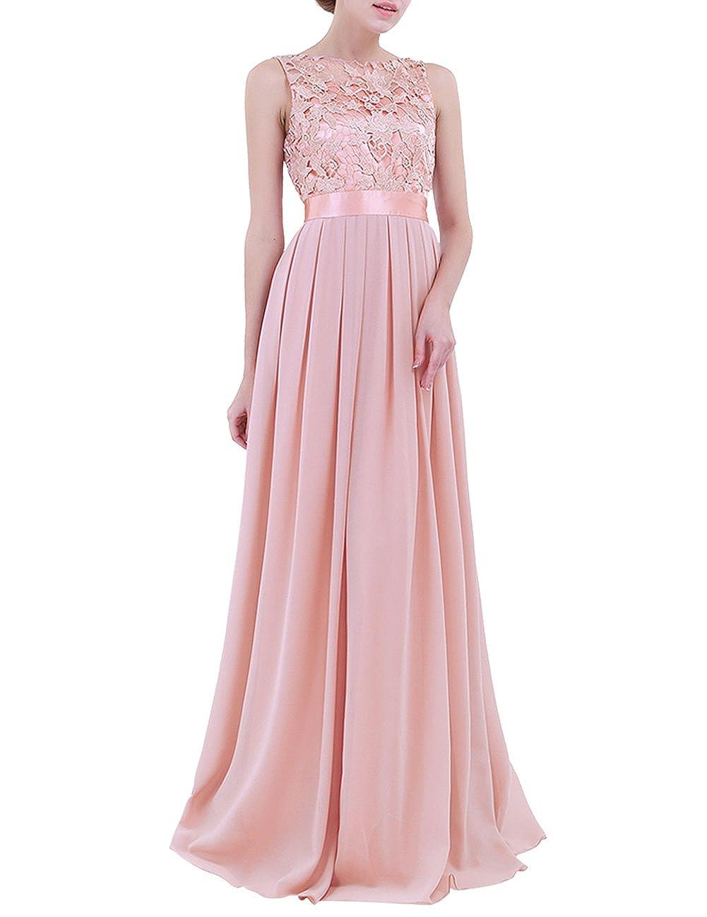 34-46 Tiaobug Elegant Chiffon Damen Kleider Lange Brautjungfer Blumenspitze Cocktailkleid Party Festlich Hochzeit Abendkleid Gr