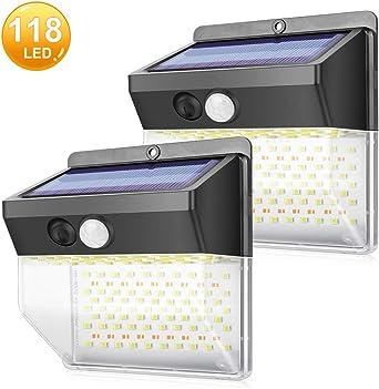 Luz Solar Exterior 118 LED Foco Solar Exterior con Sensor de Movimiento Impermeable Gran Ángulo 270º de Iluminación Luces Solares 3 Modos Inalámbrico Lámpara Solar para Jardín, Garaje, 2 Piezas: Amazon.es: Iluminación
