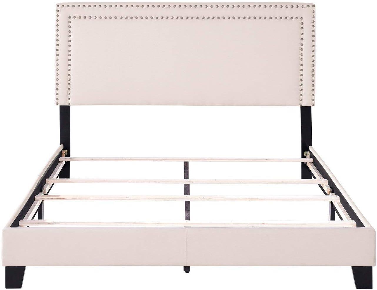 LZ LEISURE ZONE Full Bed Frame Upholstered Platform Mattress Foundation with Wooden Slat Support Nailhead Headboard Beige, Full