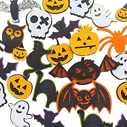 Chenkou Craft 20pcs Random Padded Felt Appliques Patch Craft Halloween Decoration Ghost Bat Cat Spider Owl Pumpkin Lantern ()
