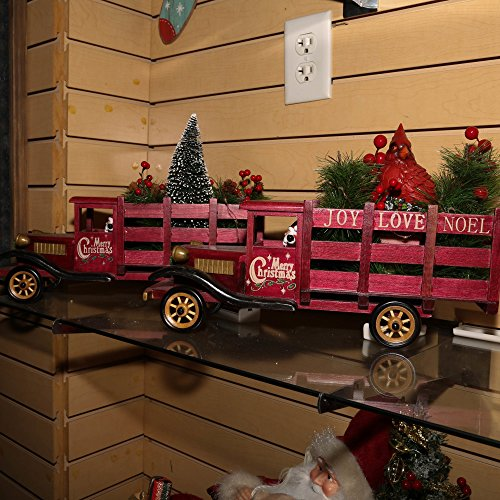 The Gerson Company Battery Operated Lighted Wood Antique Christmas Holiday Trucks Set Decoration by Gerson (Image #2)