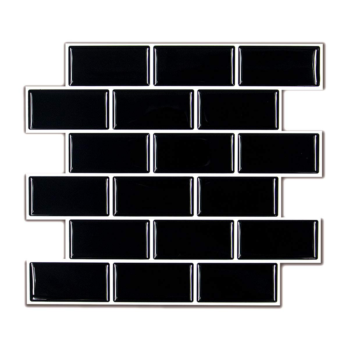 HUE DECORATION Peel and Stick Subway Tile Backsplash for Kitchen, Anti Mold Black Backsplash Tile 11.26'' x 10'' Pack of 6
