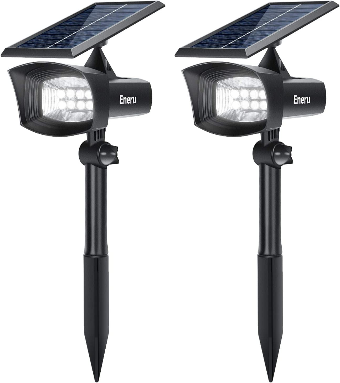 Eneru Solar Spot Lights Outdoor, LED Solar Spotlights PRO Solar Powered Landscape Lighting IP65 Waterproof Dusk to Dawn for Garden Pathway Yard Driveway Garage 2 Pack Cold White