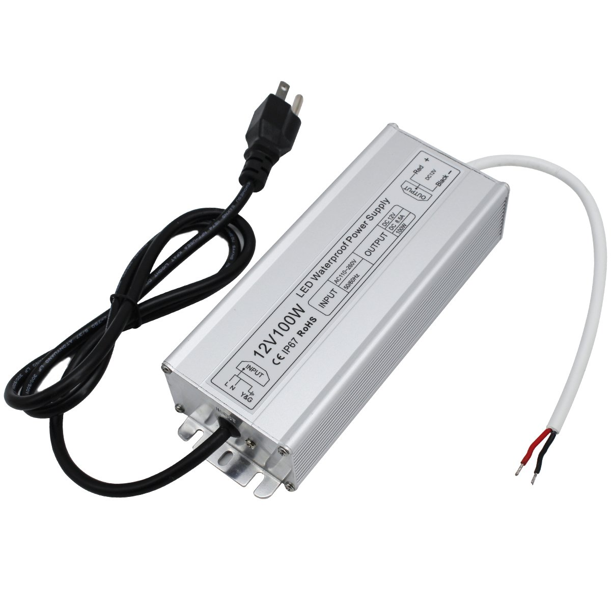 YGS-Tech 12V LED Power Supply 100W, Waterproof Low Voltage Transformer, 12 Volt DC Output with 3-Prong Plug, 5ft Cable