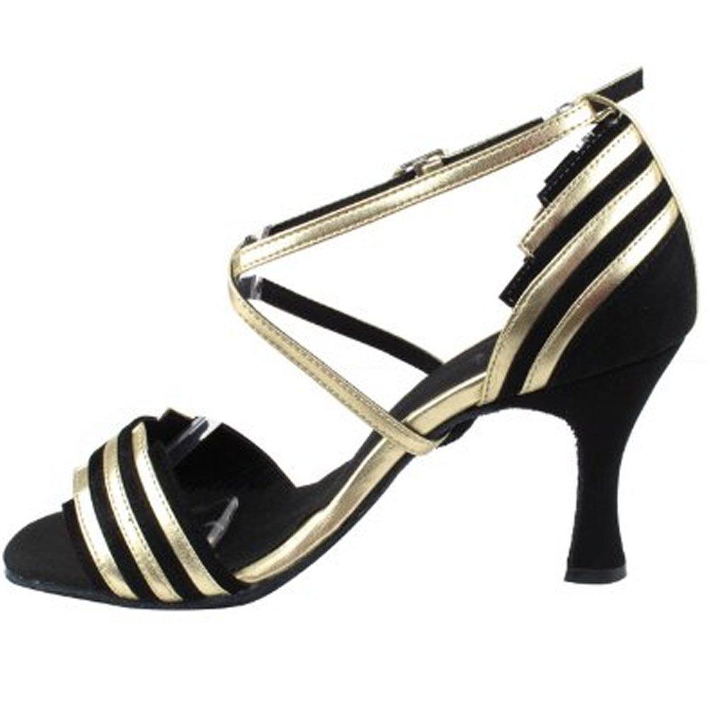[Very Fine Dance Shoes] レディース B00FPZS8TK Black Suede & Light Gold Trim 8 B(M) US