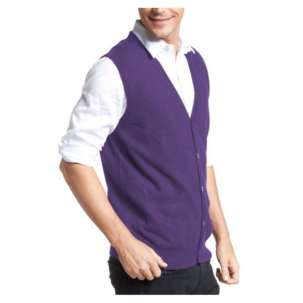 Parisbonbon Mens 100/% Cashmere V-Neck Cardigan Vest CA13112800029667
