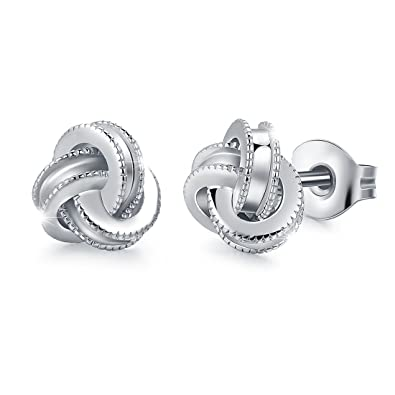 be4842cfd Amazon.com: White Gold Plated Sterling Silver Studs Love Knot Earrings For  Women | Hypoallergenic & Nickle Free Jewelry for Sensitive Ears: Jewelry