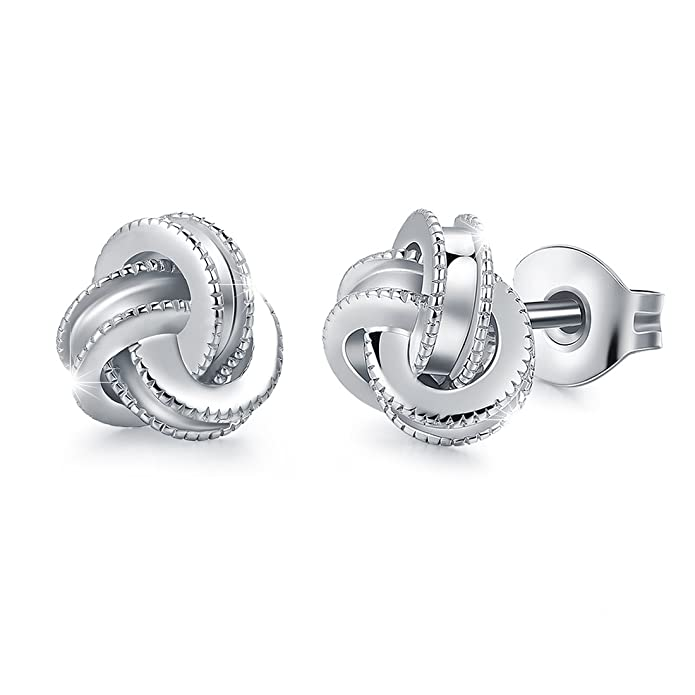 6d25ffe2057f4 White Gold Plated Sterling Silver Studs Love Knot Earrings For Women |  Hypoallergenic & Nickle Free Jewelry for Sensitive Ears