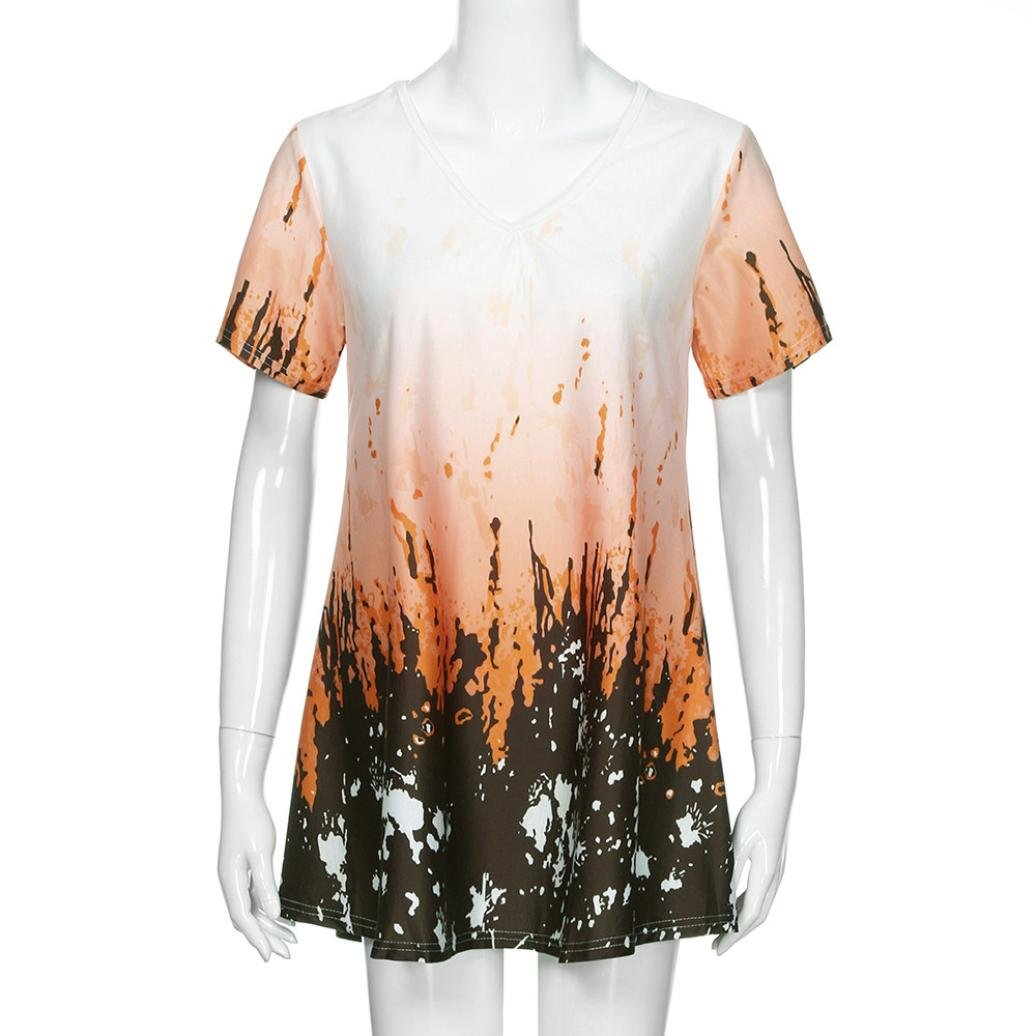 26db4b51d302da Quistal Plus Size Women Short Sleeve A Line Dress Tops Ladies Summer Casual Tie  Dye Tunic Shirts Blouse White: Amazon.co.uk: Clothing