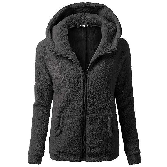 Cebbay Abrigos de otoño Invierno Abrigo de Mujer Fleece Chaqueta con Capucha Espesar Suelto Prendas de
