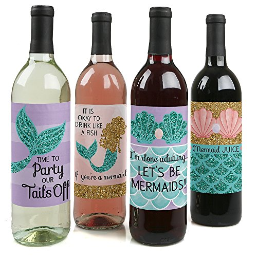 Lets Be Mermaids - Baby Shower or Birthday Party Decorations for Women and Men - Wine Bottle Label Stickers - Set of 4
