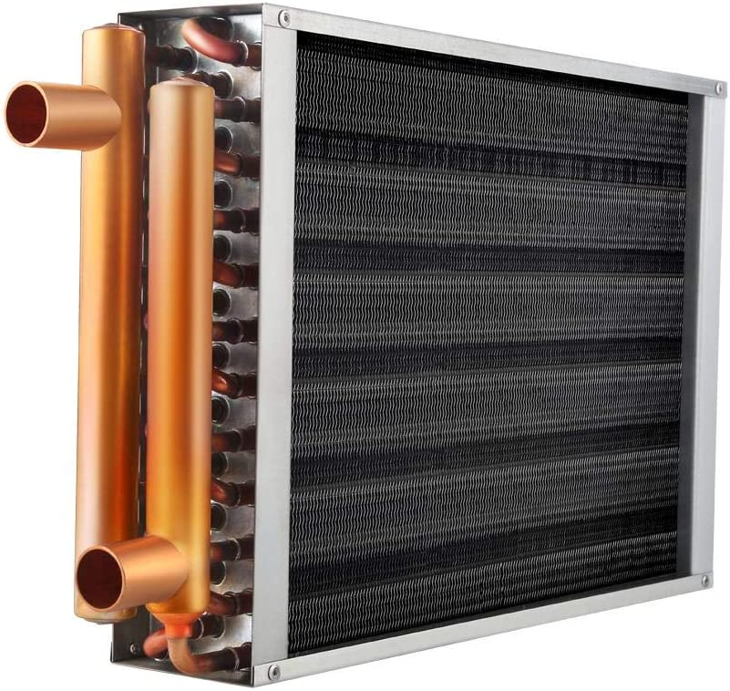 "Water to Air Heat Exchanger 18x18 1"" Copper Ports Hot Water Coil Outdoor Wood Furnace"