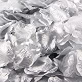 1000 Pcs Artificial Silk Rose Petals, Tuscom Fake Rose Flower Petals for Wedding Party Confetti Flower Girl Bridal Shower Valentine Day Romantic Decor Hotel Home Decoration (Silver)