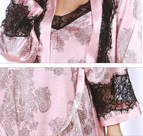 Primavera 2017 Sra. Pijamas De Seda Atractivos Traje De Dos Pink