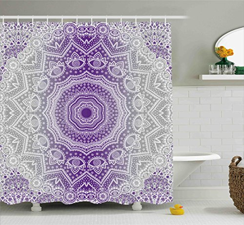Ambesonne Grey and Purple Shower Curtain, Ombre Mandala Abstract Eastern Religious Art with Art Holy Cosmos Design, Fabric Bathroom Decor Set with Hooks, 70 Inches, Violet by Ambesonne