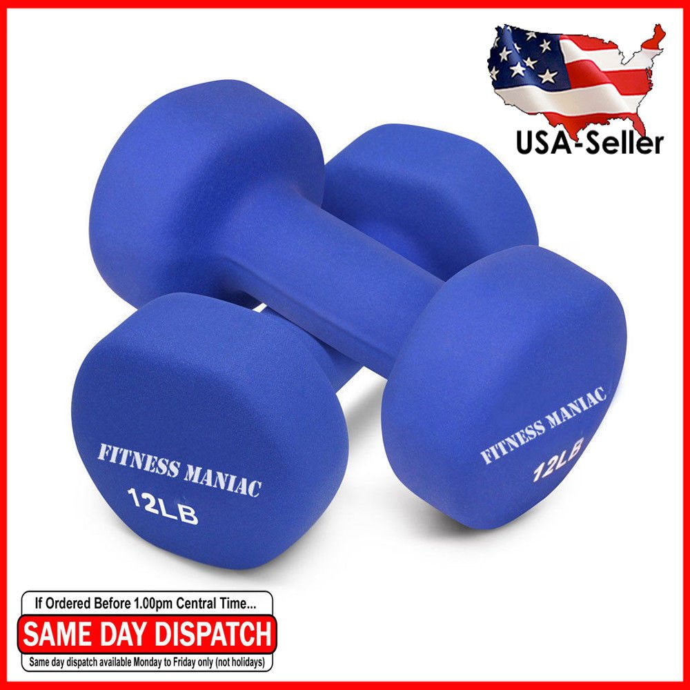 FITNESS MANIAC Home Gym Weightlifting Strength Training Body Exercie Heavy Weight Neoprene Dumbbells Non-Slip Weights Set 12LB Fitness Muscle Tone Bodybuilding Workout SOLD AS PAIR by FITNESS MANIAC