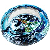 YOURNELO Round Air Pattern Crystal Cigarette Ashtray 4.6 Inches