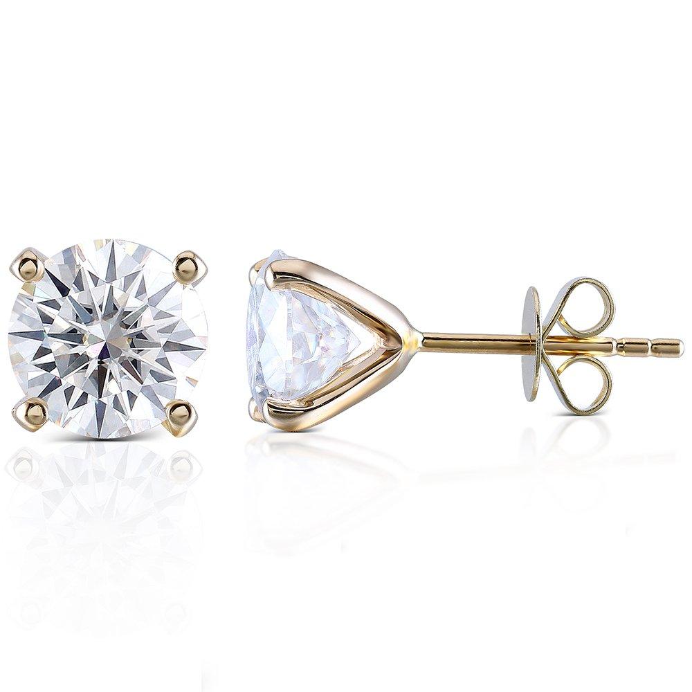 Transgems 14K Yellow Gold H Color Moissanite Simulated Diamond 4 Prongs Stud Earrings Push Back for Women (1.6)