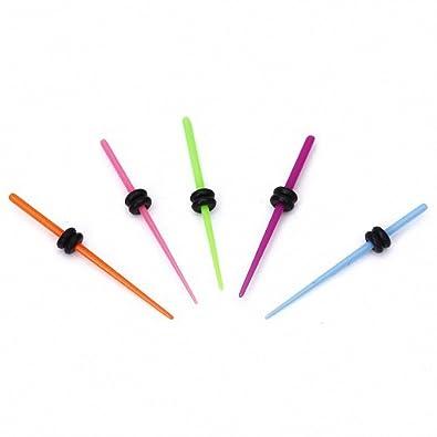 Movimiento y movimiento (TM) 5 Pcs 16 G Colorful Acrílico estiramiento de oreja - Dilatador Plug 1,3 mm: Amazon.es: Joyería