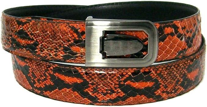 Black Bonded Python Skin High Quality Fashion Dress Belt Orange
