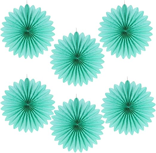 Blue Hanging Honeycomb Tissue Paper Fans Assorted Colors SUNBEAUTY