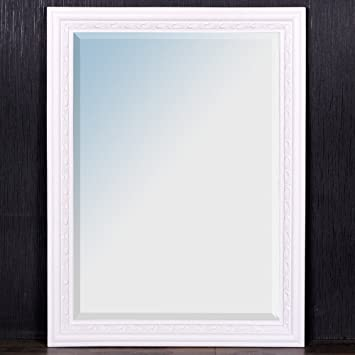 Baroque Wall Mirror 80 x 60 CM Pure White Mirror Wooden Frame and ...