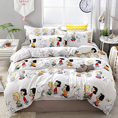 LuDan Bedding Set Cartoon Snoopy Family Print 3pcs Bedding Set Duvet Cover Without Comforter Pillowcase Twin Full Queen for Kids Teens A/B Design for Kids (Family, Full 70