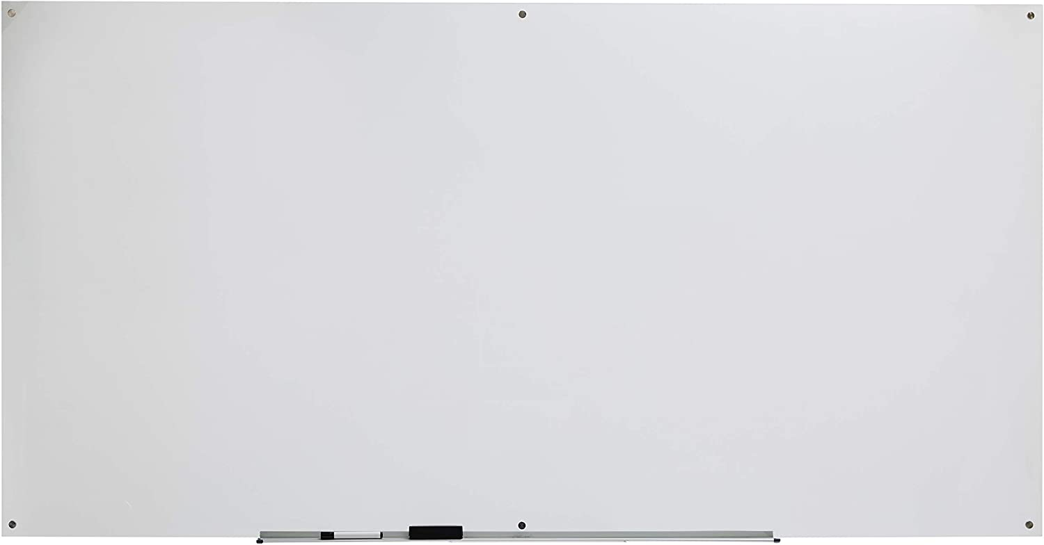 AmazonBasics Glass Dry-Erase Board - Frosted, Non-Magnetic, 8 Feet x 4 Feet