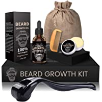 Beard Growth Kit, Derma Roller + Beard Growth Oil Serum + Beard Balm + Brush Comb for Men, Facial Hair Growth Kit…
