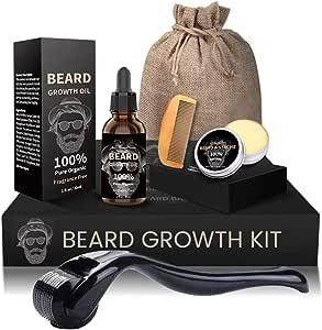 Beard Growth Kit, Derma Roller + Beard Growth Oil Serum + Beard Balm + Brush Comb for Men, Facial Hair Growth Kit, Titanium Microneedle Beard Roller Kit, Best Value Beard Care Kit for Men